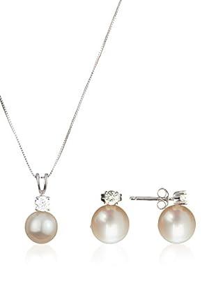 United Pearl Conjunto de cadena y pendientes  Oro Blanco