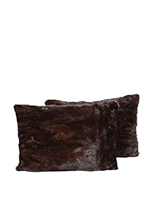 Set of 2 Chocolate Mink Pillows, Brown, 14
