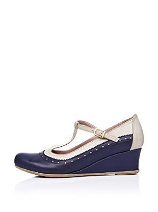 Ziya Zapatos con Cuña Hebilla (Azul Marino / Verde)