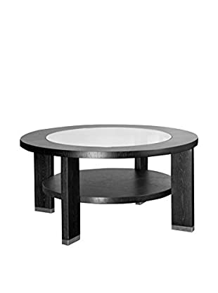 Armen Living Alta Glass-Top Occasional Table, Espresso