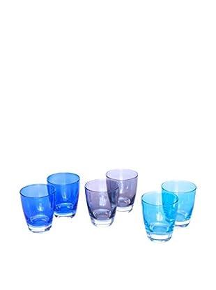 6 er Set, Gläser azur/blau/grau