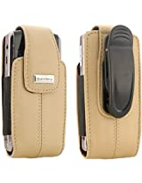 BlackBerry Blackberry Ecru Tan Leather Vertical Pouch With Belt Clip For Pearl 8100