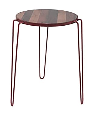 Three Hands Red Wood/Metal Accent Table