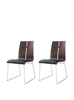 Whiteline Lauren Set of 2 Dining Chairs, Walnut/Black