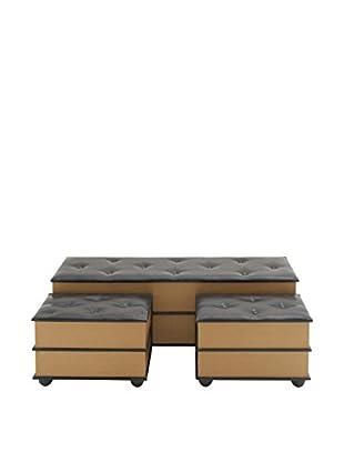 Faux Leather 3-Piece Storage Bench, Black