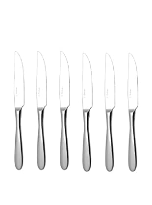 Fortessa Set of 6 Stainless Steel Grand City Solid-Handle Steak Knives