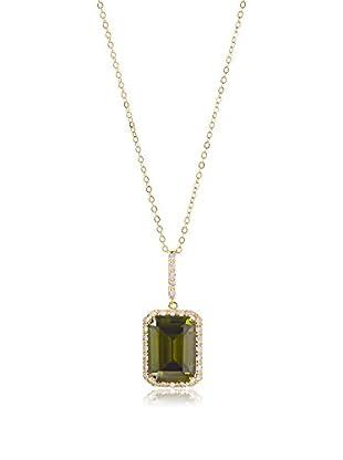 CZ by Kenneth Jay Lane Emerald/CZ Drop Pendant Necklace