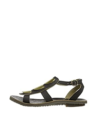 Fly London Sandalias Bly Gladiator (Negro / Plata)