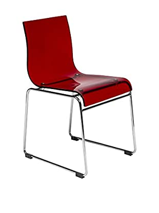 LeisureMod Lima Modern Acrylic Chair, Transparent Red