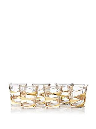 A Casa K Zig Zag Set of 6 Crystal & Gold 10-Oz. Tumblers