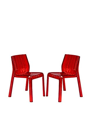 LeisureMod Set of 2 Ruffle Modern Dining Chairs, Transparent Red