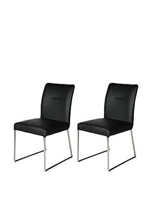 Whiteline Larry Set of 2 Dining Chairs, Black