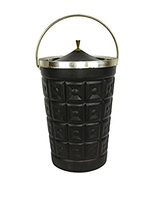 Uptown Down Previously Owned Black Plastic Ice Bucket with Chrome Accents