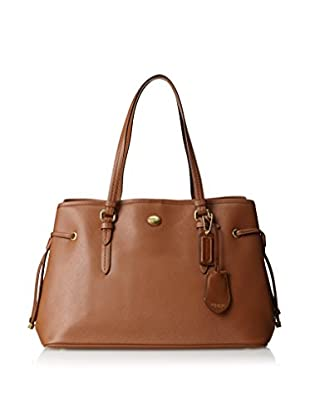 Coach Women's Peyton Saffiano Leather Drawstring, Saddle