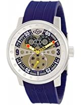 Gv2 By Gevril Powerball Gold-Tone Dial Blue Polyurethane Band Big Date Mens Watch 4042R3
