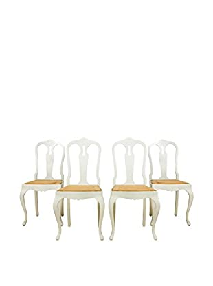 Set of 4 French Country Farm Chairs, White/Brown