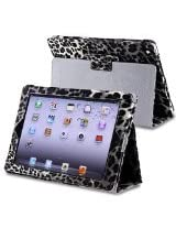 eForCity Leather Case with Stand for Apple iPad 3/4, Black/White Leopard (PAPPIPADLC41)