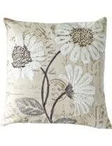 Decorative White Sequins Daisy Floral Throw Pillow COVER 18 Natural