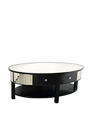 Evergreen Traveler's Oval Cocktail Table, Black/Silver