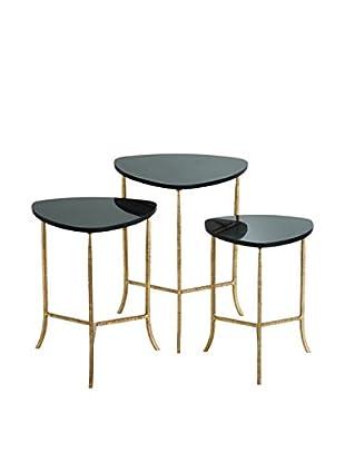 Arteriors Home Set Of 3 Connor Nesting Tables, Gold Leaf/Black