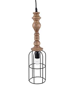 Wood & Metal 1-Light Pendant Lamp, Tan