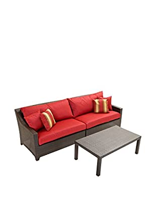 RST Brands Deco 2-Piece Sofa With Coffee Table Set, Red