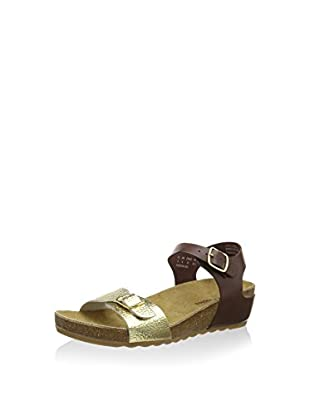 Hush Puppies Tease Soothe, Women Wedge Sandals, Multicolor (Brown/Light Gold), 3 UK (36 EU)