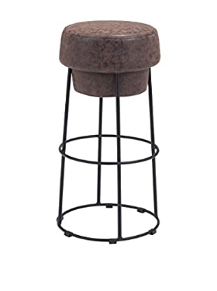 Zuo Modern Pop Industrial Barstool, Natural Distressed