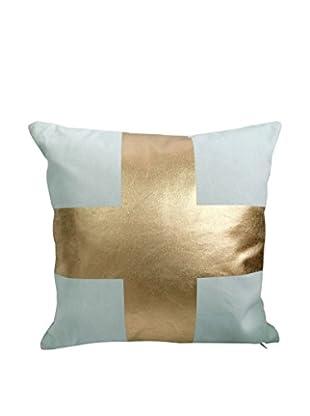 Only Deco Abwaschbares Kissen himmelblau/goldfarben