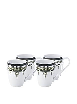Padma Collection Minakari 14-Oz. Mugs, Sage/Teal, Set of 4