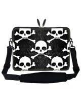 Meffort Inc 17 17.3 inch Laptop Sleeve Bag Carrying Case with Hidden Handle and Adjustable Shoulder Strap - Hazard Skull Design