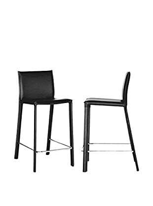 Baxton Studio Elana Leather Counter Stools, Set of 2 (Black)