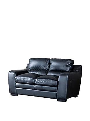Baxton Studio Diplomat Modern Leather Loveseat, Black