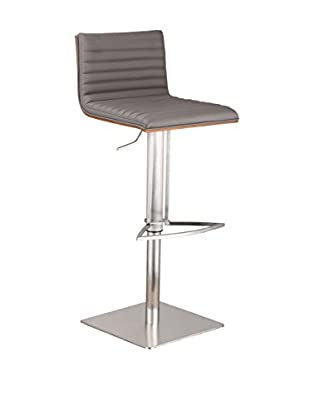 Armen Living Café Adjustable Brushed Stainless Steel Barstool with Walnut Back, Gray