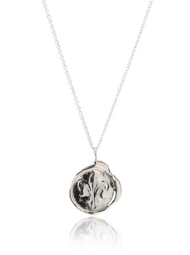 Catherine Angiel Fleur-de-Lis Seal Pendant Necklace