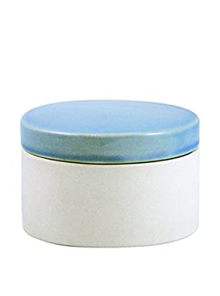 Canvas Home Shell Bisque Short Canister with Lid, Light Blue/Beige