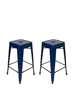 Aeon Euro Home Collection Set of 2 Galaxy Counter Stools, Navy Blue