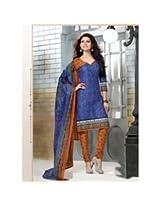 Saara Blue And Orange Printed Dress Material - 144D4025