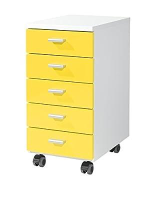 Germania Schubladenschrank 4099 weiß/gelb