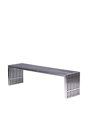 LeisureMod Eldert Gridiron Brushed Stainless Large Steel Bench, Silver