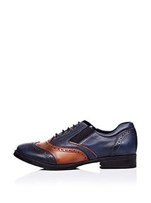 Ziya Zapatos Oxford Picados (Azul marino / Tabaco)