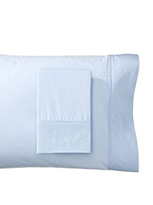Mélange Pair of 300 TC Cotton Egyptian Percale Double Pleat Solid Pillowcases, Bay Blue, Standard