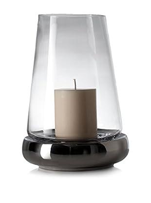 Torre & Tagus Tall Kiefer Tapered Glass/Chrome Ceramic Hurricane
