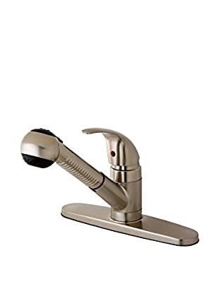 Kingston Brass Kitchen Faucet With Pull-Out Sprayer, Satin Nickel