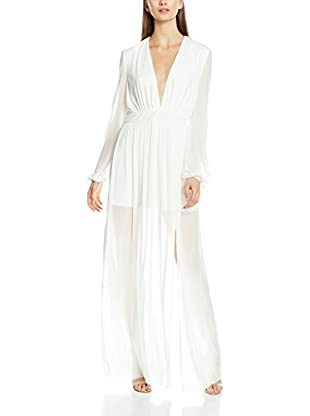 Rare London Vestido Largo Long Sleeve Plunge Illusion Maxi