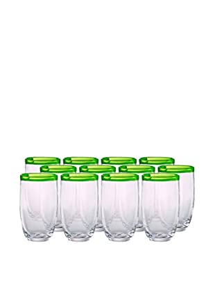 Artland Festival Set of 12 Highball Glasses, Lemongrass
