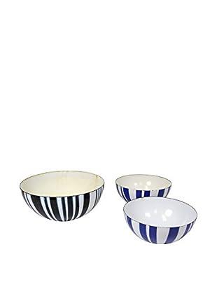 Aviva Stanoff Set of 3 Arabia Bowls, Blue/Black