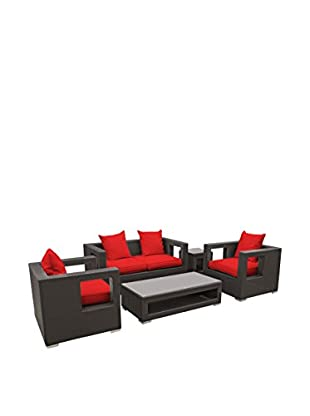 Modway Lunar 5-Piece Outdoor Patio Sofa Set (Espresso/Red)