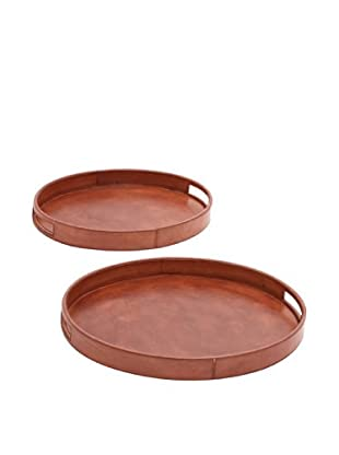 Set of 2 Leather Oval Trays