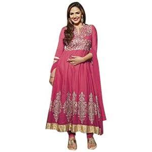 Pink Cotton Style Esha Deol In Anarkali Suit